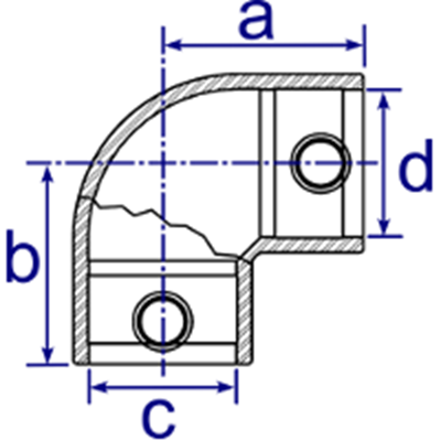 Dimensions Image 1 - 125R - Reducing Two Way Elbow